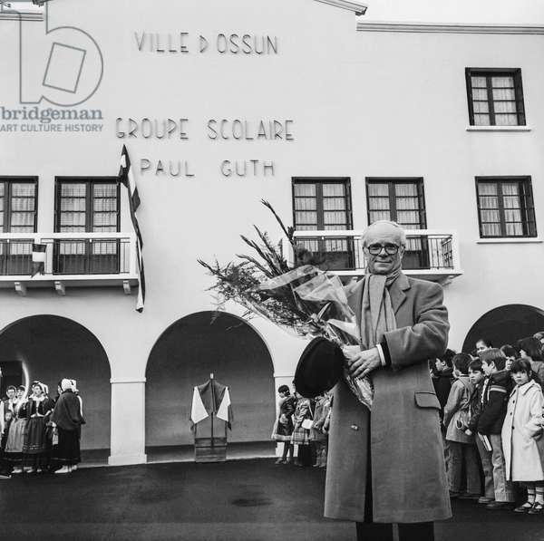 French writer Paul Guth at opening of the Paul Guth school complex in Ossun, Pyrenees, France, December 20, 1979 (b/w photo)