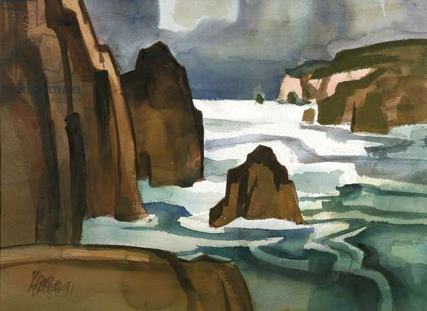 Rocks and Sea at Albion, 1991 (w/c on paper)