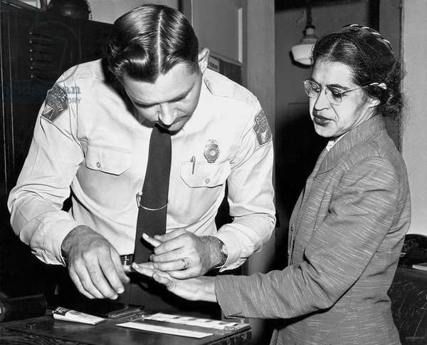 Rosa Parks Gets Fingerprinted, Montgomery, Alabama, 1959 (b/w photo)