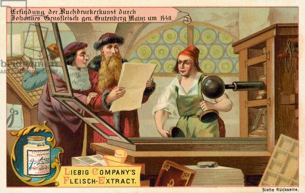 Discovery of the art of printing by Johannes Gutenberg, Mainz, Germany, 1440 (chromolitho)