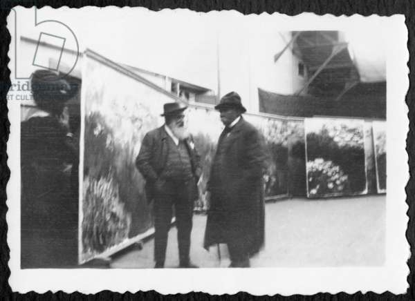 Georges Clemenceau visiting the studio of Claude Monet, Giverny (b/w photo)