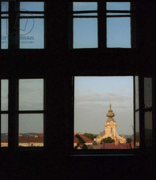 View from Wadowice Junior High School that Karol Wojtyla attended. Wadowice church is seen in the background.
