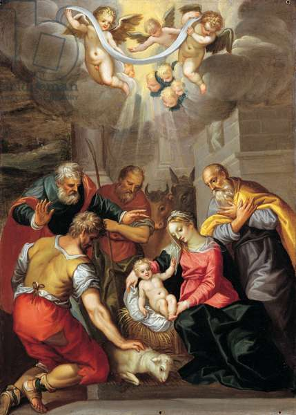 Adoration of the Shepherds, 1590 (oil on copper)