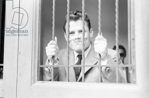 Chet Baker being sued for possession (b/w photo)