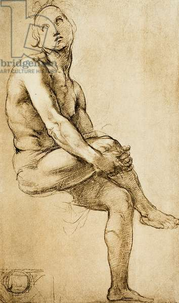 Study of a human figure, drawing by Raphael, Cabinet of Drawings and Prints, Uffizi Gallery, Florence
