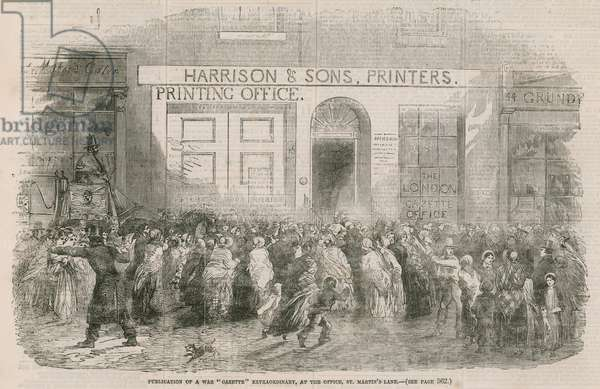 Publication of a War Gazette Extraordinary, at the office, St Martin's Lane (engraving)