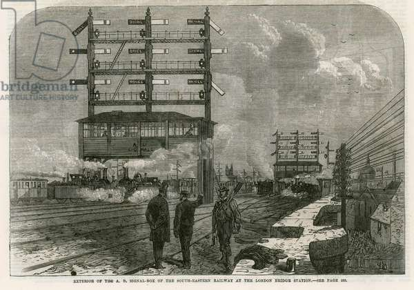 Exterior of the AB signal box of the South-Eastern Railway at the London Bridge Station (engraving)