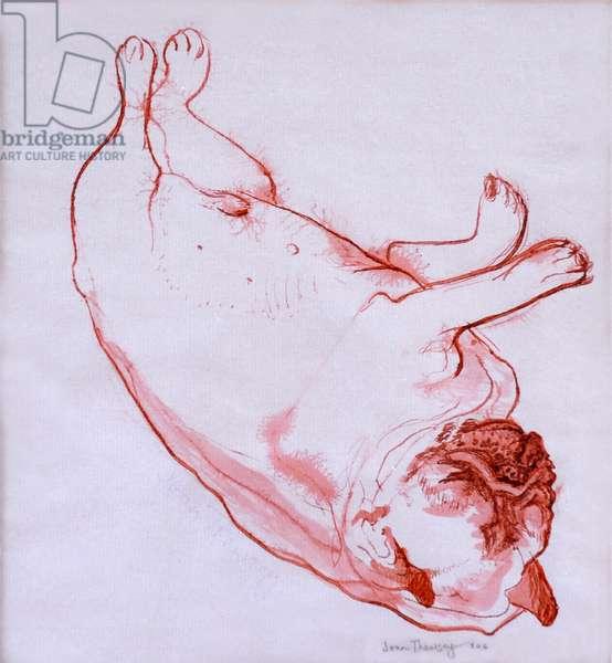 Hogarth Sleeping, 2005, (ink on wet paper)