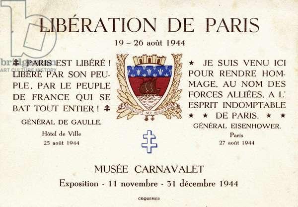 Liberation of Paris Exhibition advertisement, 1944