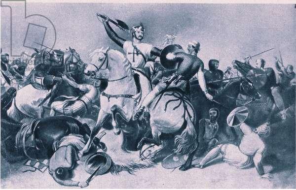 Richard I and Saladin at the Battle of Ascalon, 1192 (litho)