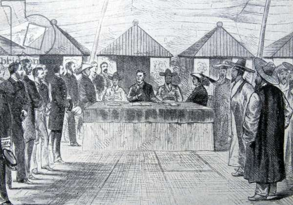 Engraving depicting British and Chinese envoys singing the treaty with Korea
