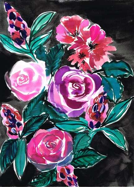 Rose bouquet, 2018, watercolour