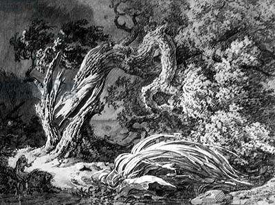 The Oak and the Reed (engraving, 19th century)
