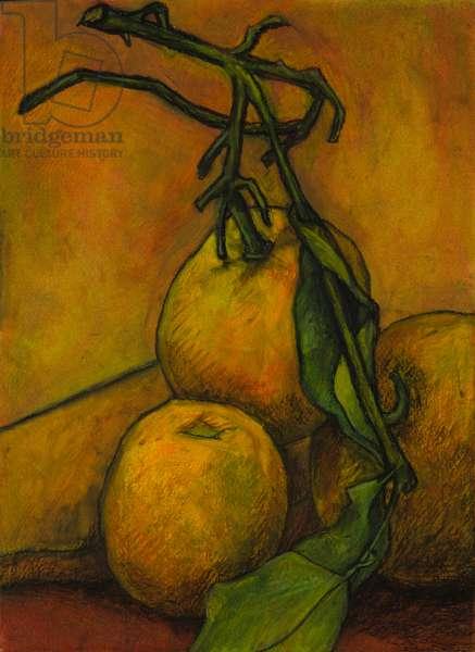 Still life in orange, 2008 (oil pastel on paper)