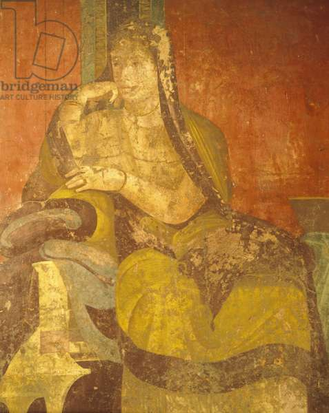 Roman woman, detail of painting from Cult of Dionysian Mysteries, Second Pompeian Style, Villa of Mysteries, Pompeii , Campania, Roman Civilization, 1st Century