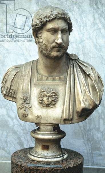Hadrian: Publius Aelius Hadrianus (76-138) Roman emperor from 117. Founder of Adrianopolis. Portrait bust.