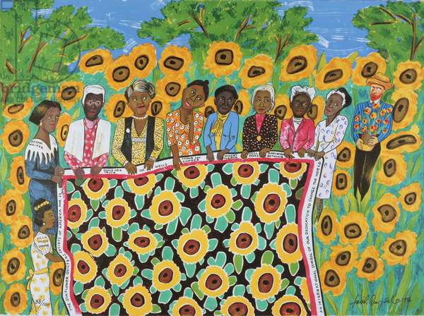 The Sunflower Quilting Bee at Arles, 1996 (colour litho)