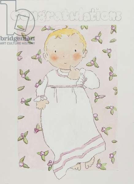 New baby girl (watercolour)
