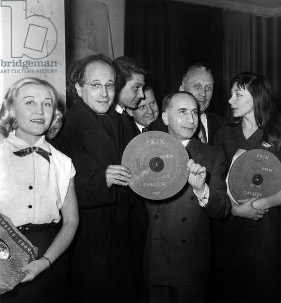 Leo Ferre and Juliette Greco, 1955 (b/w photo)