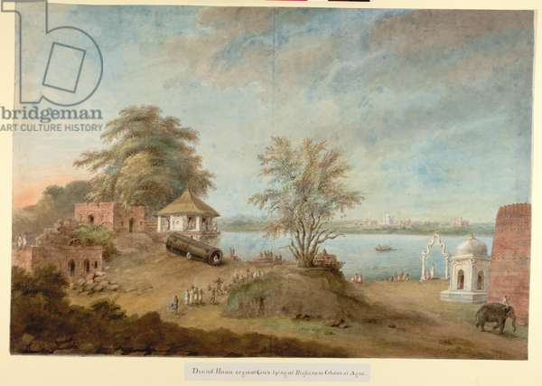 The Great Gun of Agra lying beside the Fort wall, c.1814-15 (w/c on paper)