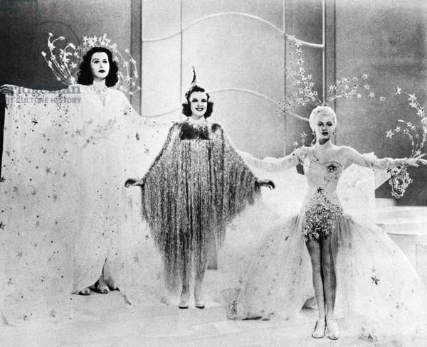 ZIEGELD GIRL, 1941 Left-to-right: Hedy Lamarr, Judy Garland, and Lana Turner in a scene from the film 'Ziegfeld Girl,' 1941, wearing costumes designed by Adrian.