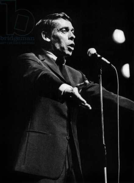 Jacques Brel on Stage at The Olympia in Paris on October 7, 1966  (b/w photo)