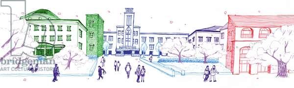 University campus, 2014, (Pen on paper)
