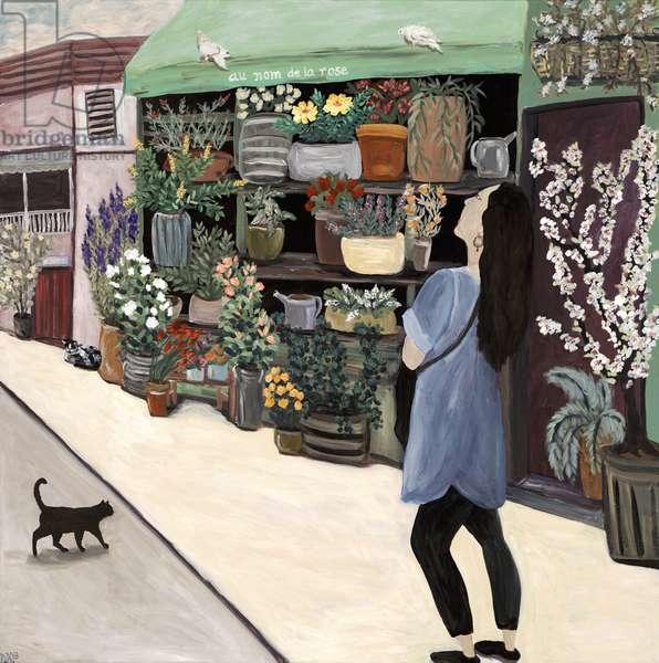 Nita in St. Germain, 2018, (acrylic on canvas)