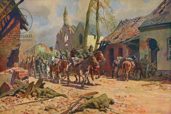 World War 1: German troops in Ypres, Belgium (print)
