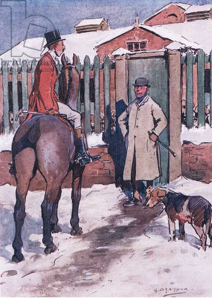 As soon as ever the eves begin to drop, the would bes put on their red coats and go to the kennel, from Mr Jorrocks' Lectors published by Hodder & Stoughton, 1910 (colour litho)