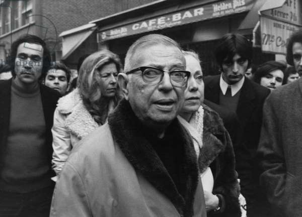 Jean-Paul Sartre with Michele Vian, during a protest against the murder of Pierre Overney, 28th February 1972 (b/w photo)