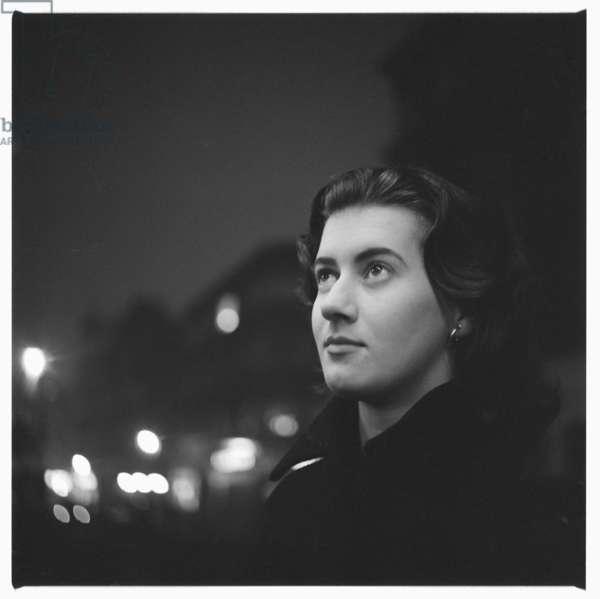 Liz Odel, portrait taken in a Soho, London mid 1950's (b/w photo)