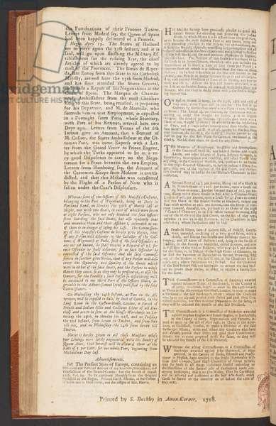 The London Gazette, issue 5632, page 1, 9th April 1718 (print)