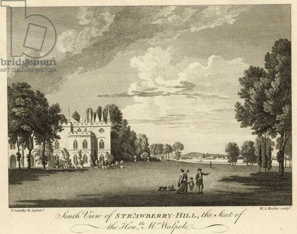 South view of Strawberry Hill, Twickenham, London, the seat of the Honourable Horace Walpole (engraving)