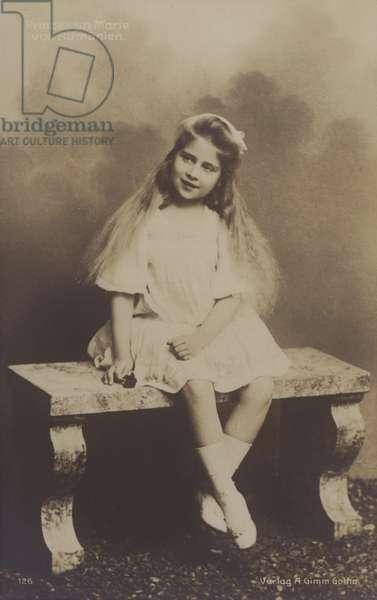 Princess Maria of Romania, later queen consort of King Alexander I of Yugoslavia, as a young girl (b/w photo)