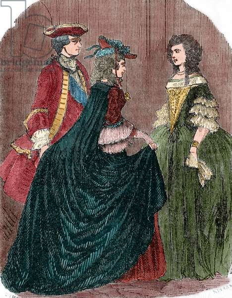 King Louis XV of France (1710-1774) and his mistress Marie-Anne of Mailly-Nesle(1717-1744), saying goodbye to the Queen Maria Leszczynska (1703-1768) (colour engraving)