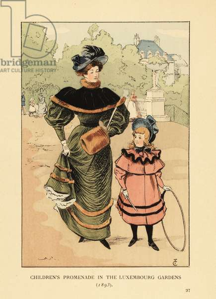 Children's promenade in the Luxembourg Gardens, 1893. Girl in bonnet and coat playing with hoop, her mother in dress with velvet pelerin and fur muff. Handcoloured lithograph by R.V. after an illustration by Francois Courboin from Octave Uzanne's Fashion in Paris, William Heinemann, London, 1898.