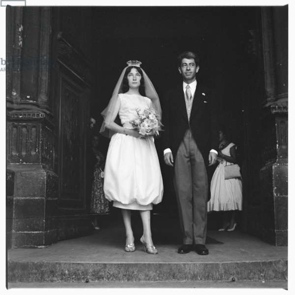 Image of a bride & groom at their wedding, Paris, early early 1950's