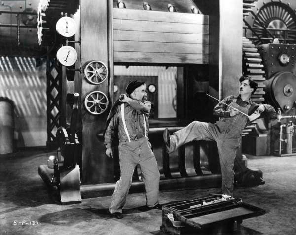 Charles Chaplin, Chester Conklin in 'Modern Times' (b/w photo)