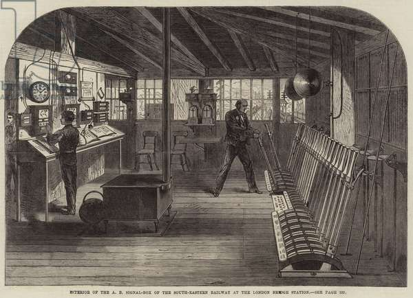 Interior of the A B Signal-Box of the South-Eastern Railway at the London Bridge Station (engraving)