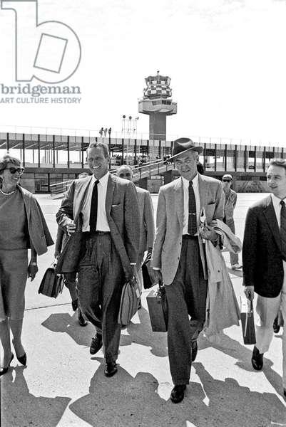 James Stewart and Charlton Heston at Fiumicino Airport, Fiumicino, Italy, 1961 (b/w photo)