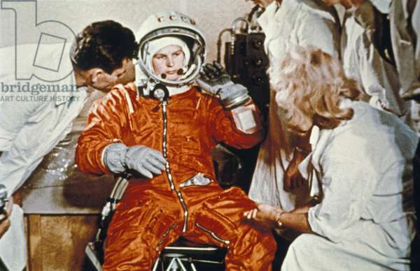 Soviet Cosmonaut Valentina Tereshkova, First Woman in Space, During Preparations for Here Flight on Vostok 6, USSR, June 16, 1963.