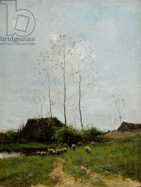 Landscape with Shepherd and Sheep (oil on canvas)