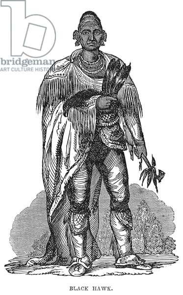 BLACK HAWK (1767-1838) Native American Sauk chief. Wood engraving, 19th century.