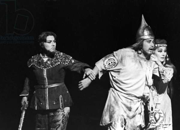 Yevgeny Nesterenko as Ruslan in a scene from Mikhail Glinka's opera 'Ruslan and Lyudmila', at the State Academic Bolshoi Theater, 1976 (b/w photo)
