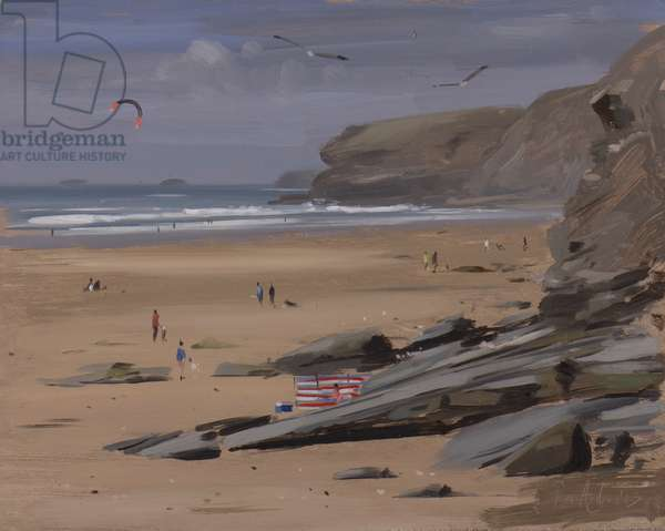 Watergate bay with kite surfer, July