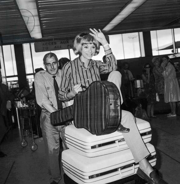 French Mireille Darc at Orly airport, Paris, leaving for Beirut July 20, 1966 (b/w photo)
