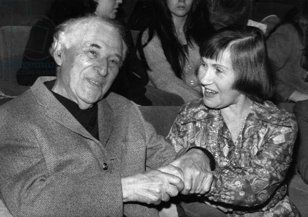 Marc Chagall and Reine Gianoli, 24 February 1975 (b/w photo)
