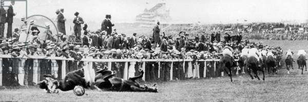Suffragette Emily Davison throws herself in front of the King's horse at the 1913 Epsom Derby.