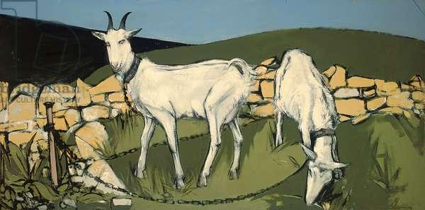 Grazing goats, 1958 (oil on board)